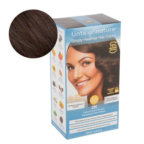 Tints of Nature natūralūs plaukų dažai 3N tamsiai rudi, 130 ml kaina ir informacija | Plaukų dažai | pigu.lt
