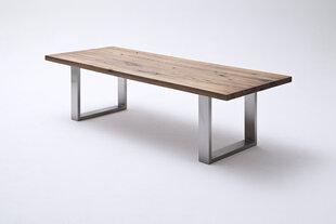 Valgomojo stalas MC Akcent Castello, 220x100 cm, rudas/sidabrinis kaina ir informacija | Virtuvės ir valgomojo stalai, staliukai | pigu.lt