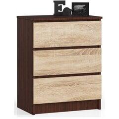 Komoda NORE K60 su 3-imis stalčiais, ruda/ąžuolo spalvos kaina ir informacija | Komodos | pigu.lt