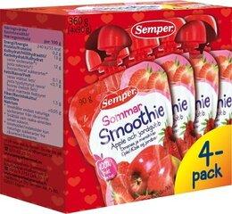 Geriamoji obuolių ir braškių tyrė Semper Smoothie, nuo 6 mėn., 4x90 g kaina ir informacija | Tyrelės | pigu.lt