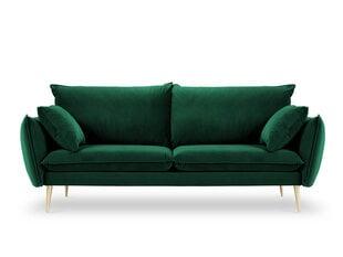 Trivietė aksominė sofa Milo Casa Elio, tamsiai žalia/auksinės spalvos kaina ir informacija | Sofos | pigu.lt