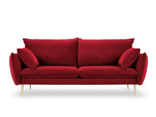 Trivietė aksominė sofa Milo Casa Elio, raudona/auksinės spalvos kaina ir informacija | Sofos | pigu.lt