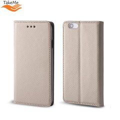 TakeMe Smart Magnetic Fix Book Case without clip Xiaomi Redmi 8 Gold kaina ir informacija | Telefono dėklai | pigu.lt