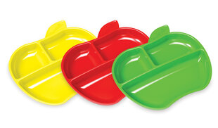 Trijų skyrių lėkštės Munchkin Lil Apple 3 vnt. kaina ir informacija | Kūdikių indai, indeliai pienui ir įrankiai | pigu.lt