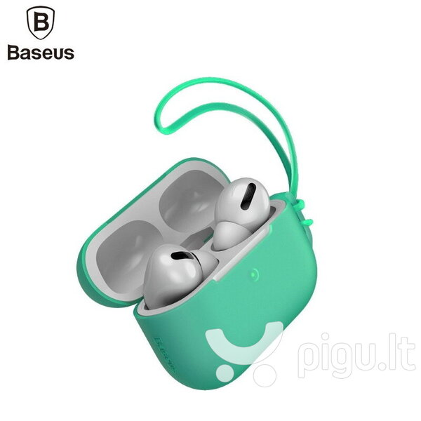 Dėkliukas Baseus Lets go Silicone-gel Protective case for Apple Airpods Pro (MWP22ZM/A), Green