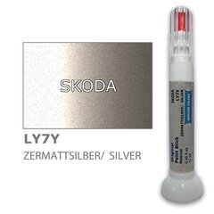 Карандаш-корректор для устранения царапин SKODA LY7Y - ZERMATTSILBER/SILVER 12 ml цена и информация | Автомобильная краска | pigu.lt