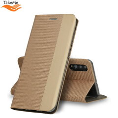 TakeMe Fabric series Smart magnetic fix book case for Samsung Galaxy S20 (G980) Gold kaina ir informacija | Telefono dėklai | pigu.lt