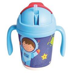 Ekologiško bambuko puodelis su silikoniniu šiaudeliu Astronautas 260ml kaina ir informacija | Buteliukai kūdikiams ir jų priedai | pigu.lt