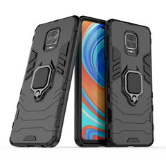 TakeMe Armor back cover case with stand / finger ring / magnet element for car holder for Xiaomi Redmi Note 9 Pro / Note 9 Pro Max / Note 9S Black kaina ir informacija | Telefono dėklai | pigu.lt