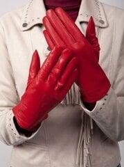 Natūralios odos pirštinės su pašiltinimu moterims O252, raudonos kaina ir informacija | Moteriškos pirštinės | pigu.lt