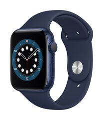 Išmanusis laikrodis Apple Watch Series 6 (GPS, 44 mm) Blue Aluminium Case with Deep Navy Sport Band kaina ir informacija | Išmanusis laikrodis Apple Watch Series 6 (GPS, 44 mm) Blue Aluminium Case with Deep Navy Sport Band | pigu.lt