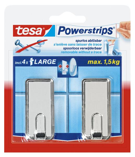 Tesa kabliukai PowerStrips Large Classic chrominiai 2 vnt. kaina ir informacija | Vonios kambario aksesuarai | pigu.lt