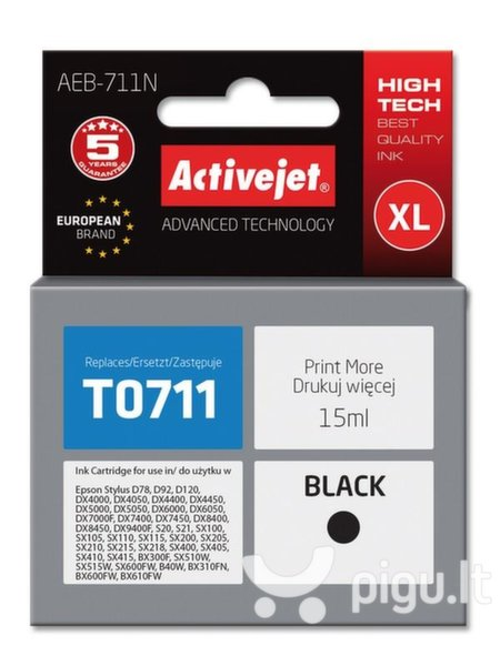 ActiveJet AEB-711 (Epson T0711, T0891, T1001), juoda