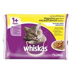 WHISKAS konservuotas ėdalas katėms nuo 1 metų Paukštienos rinkinys, 4x100 g