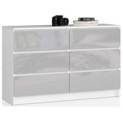 Komoda NORE K120 su 6-iais stalčiais, balta/šviesiai pilka kaina ir informacija | Komodos | pigu.lt