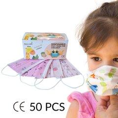 Одноразовые маски для лица 3 слоя детские (50 шт, розовые) цена и информация | Первая помощь | pigu.lt