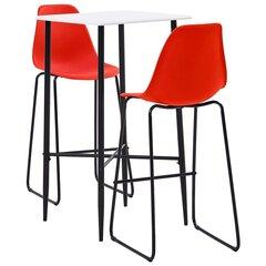 Baro baldų komplektas, 3 dalių, raudonos spalvos, plastikas kaina ir informacija | Valgomojo komplektai | pigu.lt