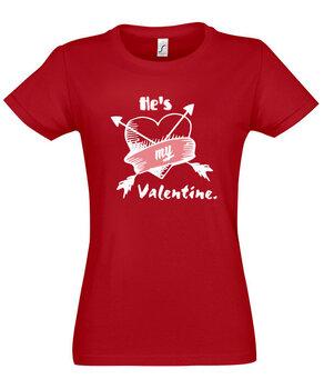 Marškinėliai moterims Jis mano Valentinas, raudoni kaina ir informacija | Marškinėliai moterims | pigu.lt