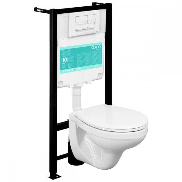 WC komplektas Kolo Slim: WC potinkinis rėmas + unitazas + mygtukas + dangtis kaina ir informacija | Klozetai | pigu.lt