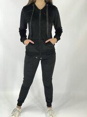 Veliūrinis laisvalaikio kostiumėlis moterims, juodas kaina ir informacija | Sportinė apranga moterims | pigu.lt