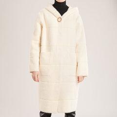 Ilgas alpakos megztukas-paltas, baltas kaina ir informacija | Paltai moterims | pigu.lt