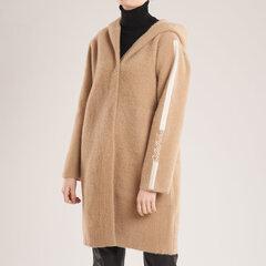 Megztukas-paltas su kapišonu, rudas kaina ir informacija | Paltai moterims | pigu.lt
