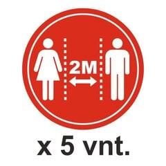 2 m saugus atstumas. Grindų lipdukai 5 vnt. kaina ir informacija | Informaciniai ženklai | pigu.lt