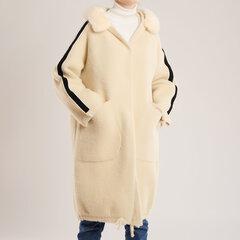 Sportinio stiliaus paltas su kailine apykakle kaina ir informacija | Paltai moterims | pigu.lt