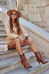 Aulinukai moterims, rudi kaina ir informacija | Aulinukai, ilgaauliai batai moterims | pigu.lt