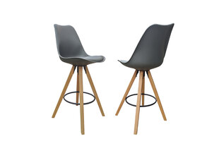 Modernus baro kėdžių komplektas Inka Grey, pilka PU oda kaina ir informacija | Virtuvės ir valgomojo kėdės | pigu.lt