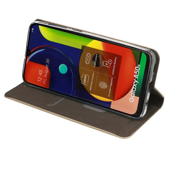 Sensitive book skirtas Samsung Galaxy A02s, auksinė