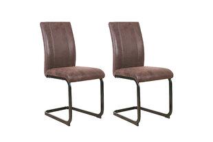 Modernus kėdžių komplektas Mila, rudas sendintas audinys kaina ir informacija | Virtuvės ir valgomojo kėdės | pigu.lt