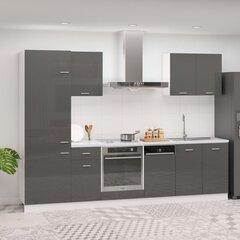 Virtuvės spintelių komplektas, 7 dalių, pilkas, MDP, blizgus kaina ir informacija | Virtuvės baldų komplektai | pigu.lt
