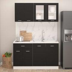 Virtuvės spintelių komplektas, 4d., juodos spalvos, fanera kaina ir informacija | Virtuvės baldų komplektai | pigu.lt