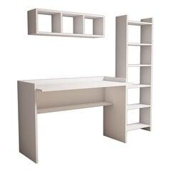 Rašomasis stalas su lentyna Kalune Design 566, baltas kaina ir informacija | Kompiuteriniai, rašomieji stalai | pigu.lt