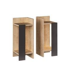 Naktinių staliukų komplektas Kalune Design 855(I), 2 vnt, rudas/pilkas kaina ir informacija | Spintelės prie lovos | pigu.lt