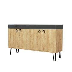 Komoda Kalune Design 855, 140 cm, pilka/šviesiai ruda kaina ir informacija | Komodos | pigu.lt
