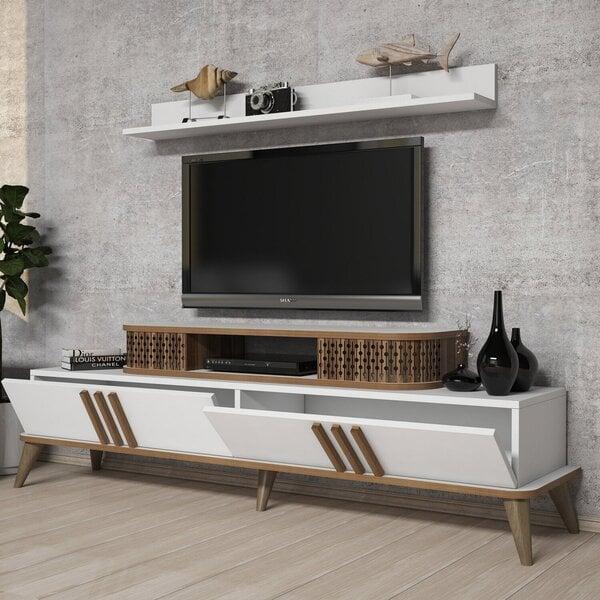 Svetainės baldų komplektas Kalune Design 845(XXV), baltas internetu