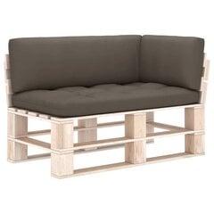 Pagalvėlės sofai iš palečių, 3 vnt, rudos kaina ir informacija | Pagalvėlės sofai iš palečių, 3 vnt, rudos | pigu.lt