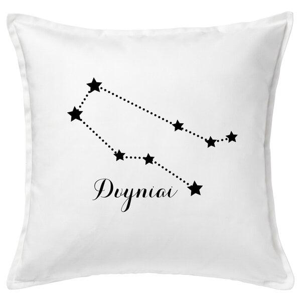 "Originali pagalvėlė su zodiako ženklu ""Dvyniai"", balta."