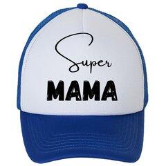 Kepuraitė su snapeliu Super mama, mėlyna kaina ir informacija | Originalios kepurės | pigu.lt