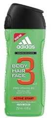 Dušo želė Adidas Active Start 3in1 vyrams 250 ml