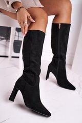 Ilgaauliai batai moterims Love, juodi kaina ir informacija | Aulinukai, ilgaauliai batai moterims | pigu.lt