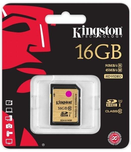 Kingston 16 GB SDHC, UHS-I klasės kaina ir informacija | Atminties kortelės fotoaparatams, kameroms | pigu.lt