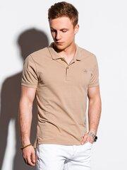 Polo marškinėliai vyrams Ombre S1374, smėlio spalvos kaina ir informacija | Polo marškinėliai vyrams Ombre S1374, smėlio spalvos | pigu.lt