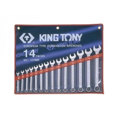 Plokščių-kilpinių raktų rinkinys, 14 vnt. KING TONY