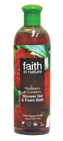 Dušo želė ir vonios putos Faith in Nature Raspberry & Cranberry 400 ml kaina ir informacija | Dušo želė, muilas | pigu.lt