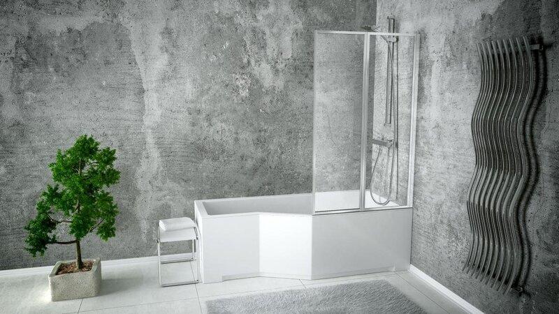 Vonia Besco Integra + 2 dalių stiklo sienelė kaina ir informacija | Vonios | pigu.lt