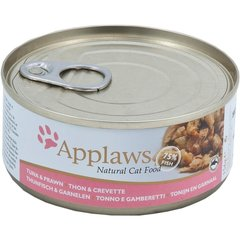 Applaws su tunu ir krevetėmis Cat Tuna Fillet with Prawn, 156 g