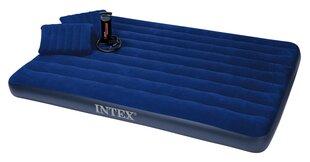 Pripučiamas čiužinys Intex Classic Downy Queen su dviem pagalvėlėmis ir pompa, 203x152x 22 cm kaina ir informacija | Pripučiami čiužiniai, baldai ir kilimėliai | pigu.lt